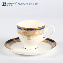260ml Plain Design Gold Rim Fine Bone China Kaffeetassen Keramik, Hot Verkauf Kaffeetasse Custom