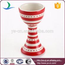 Taza de huevo de cerámica de la taza del vino de la etiqueta de la raya roja