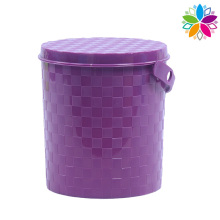 Round Weave Design Plastic Storage Bucket with Handle (SLT003)