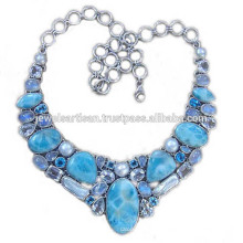 Larimar And Multi Gemstone 925 Sterling Silver Necklace Jewelry