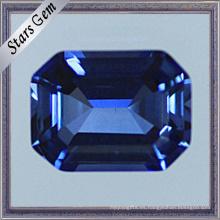 Zafiro azul luminoso del corte esmeralda del octágono para la joyería de la moda