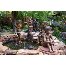 Garden Bronze Boy and Girl Statue Fountain