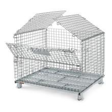Jaula del acoplamiento de alambre de acero plegable para el almacenaje del almacén