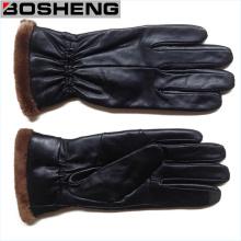 Guantes de cuero caliente de los guantes de invierno de las nuevas mujeres de la cachemira alineados, negro