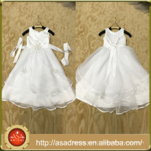 ASAP-01 Real Pictures Jewel Neck Tiered Ruffles Girl Dress with Handmade Flowers Zipper Back Flower Girl Dresses