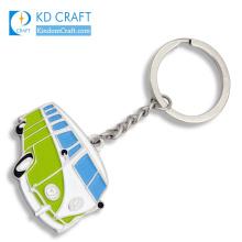 Pretty decorative no minimum custom metal zinc alloy soft enamel fancy souvenir mini cool bus shaped keychain