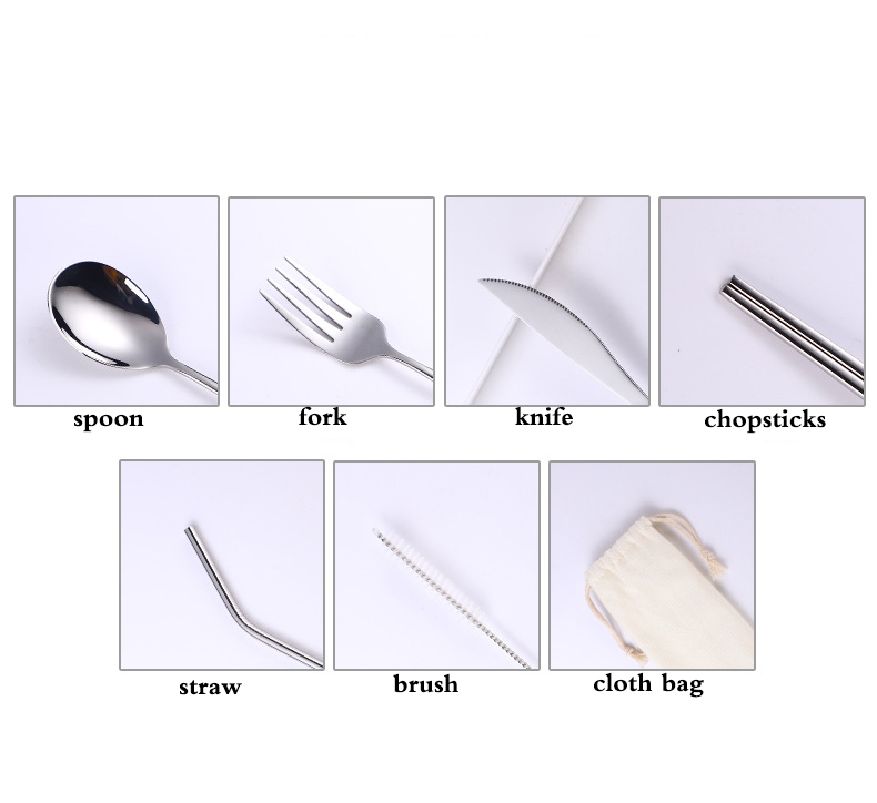 fork spoon straw cutlery set