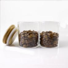 Customize any size high borosilicate glass storage jar with wood lid Storage-151RL