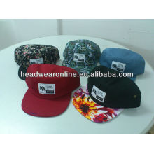 Пользовательские 5 панели цветочный принт шляпы / 5 panel колпак / 5 panel flat brim hat