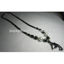 Магнитное гематитовое ожерелье из бисера с дельфинами