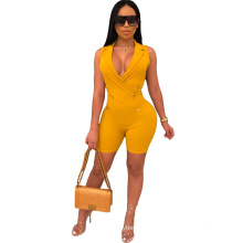 29-C3731 2019 wholesale fashion solid color sleeveless V neck jumpsuit for women 2019 autme casual clothing