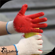 SRSAFETY дешевые красные латексные резиновые покрытые строительные перчатки для продажи