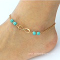 Turquoise Beads Infinite Charms Chain Cheap Ankle Bracelets