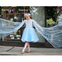 XXLF217 azules hermosas organza hemline flores flor vestido de niña patrones llano flor chica vestido