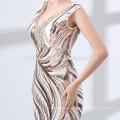 2018 long design custom made floor length sequins elegant evening dress