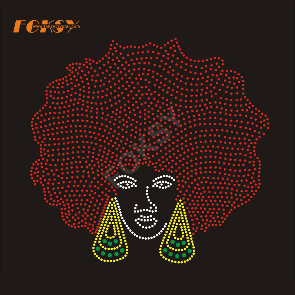 AFM17-07-2701 Afro girl rhinestone transfer