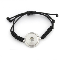 Custom Interchangeable Ginger Snap Button Bracelets with Woven Rope