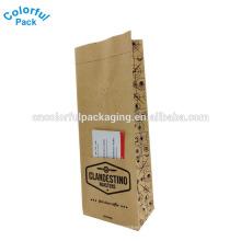 saco de papel kraft do saco de café da folha plástica do reforço lateral com válvula