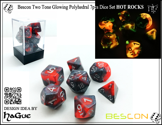 Bescon Two Tone Glowing Polyhedral 7pcs Dice Set HOT ROCKS-1