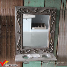 French Farm Wood Wall Mirror with Candle Holder