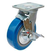 Roda de cassete de PU pesada com travão lateral (azul)