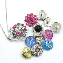 Snap Button Crystal Stones Pendant Fashion Jewelry Necklace