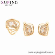 64617 xuping 18K plaqué or pierres précieuses style élégant ensemble de bijoux de mode pour les femmes
