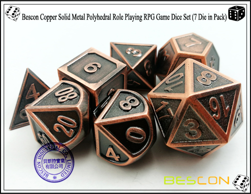 Bescon Copper Solid Metal Polyhedral Role Playing RPG Game Dice Set (7 Die in Pack)-5