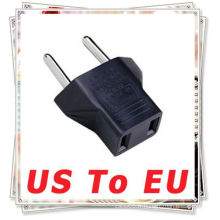 US USA à l'UE EURO Travel Power Plug Adapter Black Convertir la prise AC des États-Unis (2-flat-pins) en européen (2-rounds-pins)