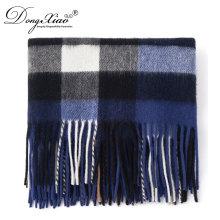 Écharpe de laine d'hiver motif de tricot vérifié hommes foulard classique plaine agneaux écharpe de laine
