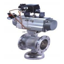 V Pattern Ball Valves Flange Type Pneumatic Actuated Pn16 Segment Stainless Steel