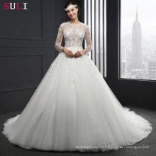MZ-0061 Long Sleeve O-neck Appliques Button Wedding Dress