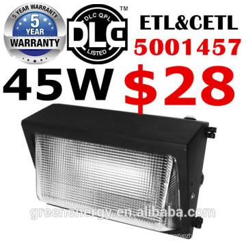 Aluminiumdruckguss IP65 45w 60w 80w 100w 120w LED Wandbeleuchtung im Freien UL DLC ETL mit Notfallfunktion