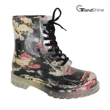 Mulheres Floral Lace up PVC Rain Boot