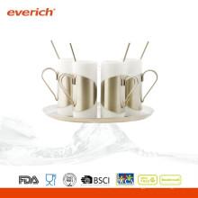 Taza de café de cerámica de encargo de la alta calidad del precio bajo con la cuchara