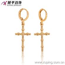 26997 moda simples cruz metálica liga jóias Eardrop em ouro 18k-banhado