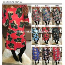 2017 Moda Feminina Roupas de Natal Casuais Maduras Senhoras Vestidos Queimado Mulheres Impresso Vestido de Natal