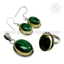 Ensemble de bijoux en malachite en argent sterling vert 925 élégant Fabrication de bijoux en argent faits à la main