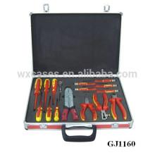 caixa de ferramentas vermelha portátil de alumínio com inserção de espuma personalizado sobre as fundo caso vendas por atacado