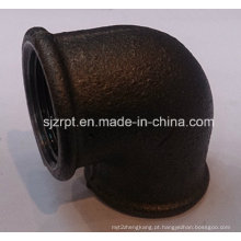 """1 """"Malleable Iron Pipe Fittings Beaded cotovelo preto sem costelas"""