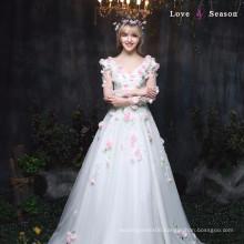 XXLF177 deep v-neck sexy nighty dress picture flower long dress long sleeves sequin dress