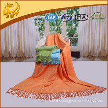 High Quality Bamboo Material Travel Throw Plain Brushed Woven Thermal Blanket For Car