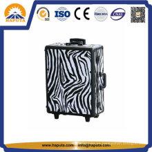 Estuche de maquillaje cosmético con carrito de aluminio Zebra (HB-3508)