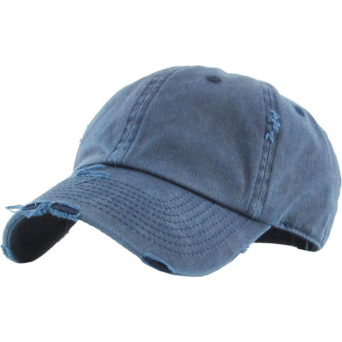 Wholesale Solid Blank Distressed Baseball Cap Washed 1