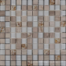 Latest Design with Shell Pattern Travertine and Glass Mosaic Tile