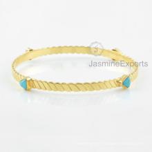 Wholesale Supplier For Arizona Turquoise Gemstone Bangle, 18k Gold Bangles For Women
