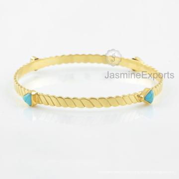 Proveedor al por mayor para el brazalete de la piedra preciosa de la turquesa de Arizona, brazaletes del oro 18k para las mujeres