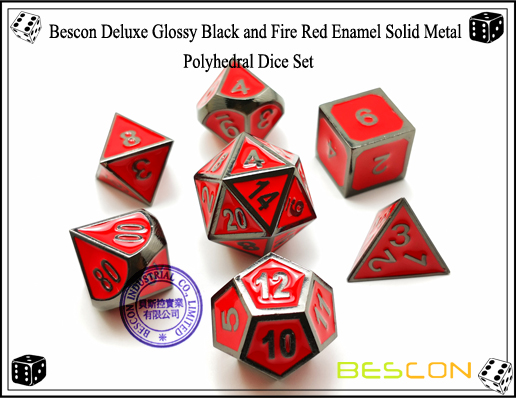 Bescon Deluxe Glossy Black and Fire Red Enamel Solid Metal Polyhedral Role Playing RPG Game Dice Set (7 Die in Pack)-2