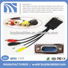 Usine en gros VGA 15 broches mâle à 3 RCA femelle câble 1 m