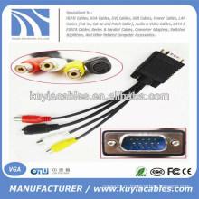 Завод оптовой продажи VGA 15-контактный мужчина к 3 RCA женский кабель 1 м